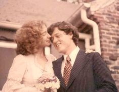 Hillary and Bill Clinton - wedding (1975) The wedding was small and informal, only 15 guests and she wore an off-the-rack dress. Description from pinterest.com. I searched for this on bing.com/images