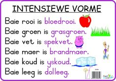 Intensiewe Vorme Available in Afrikaans only Afrikaans Language, Preschool Journals, Phonics Song, Printable Preschool Worksheets, Math Groups, Learn English Grammar, Teaching Aids, Spelling Words, Letter Recognition