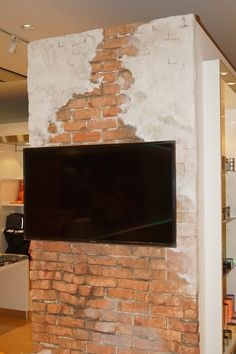 Fake Brick Wall, Faux Brick, Lofts, Clothing Store Design, House Construction Plan, Old Wall, Faux Painting, Restaurant Design, Exterior