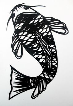 Koi carp handmade paper cut by allanamphotography on Etsy Kirigami, Chinese Paper Cutting, Paper Cutting Templates, Paper Birds, Paper Flowers, Image Nature, Koi Carp, Paper Animals, Stencils
