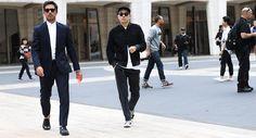 Black suede bomber jacket, white t shirt, black pants, sneakers
