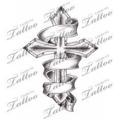 Marketplace Tattoo Shaded Cross with 3 Banners #2944 | CreateMyTattoo.com