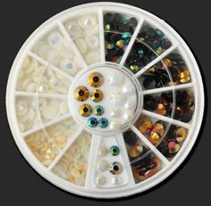1-Set Exquisite Popular 3D Acrylic Rhinestone Nail Art Wheel Cellphone DIY Tips Non-Toxic Pattern Style -13 ** Continue to the product at the image link.