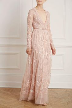 New Season Eleanor Gown in Powder Pink Long Floral Maxi Dress, Sequin Midi Dress, Floral Gown, Sequin Gown, Embellished Dress, Long Dresses, Tulle Bows, Floor Length Gown, Maxi Gowns