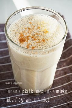 Smoothie Drinks, Healthy Smoothies, Jucing Recipes, Mackerel Recipes, Coctails Recipes, Good Food, Yummy Food, Latte, Honey And Cinnamon