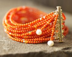 Red Coral MultiStrand Seed Bead Bracelet / Freaking awesome!