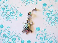 ♦♦ Sale-Belly Ring, Tibetan Silver Mr. Tortoise the Turtle With Blue Crystals, Belly Button Ring, Belly Button Jewelry, For Her