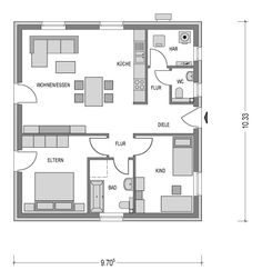 kleiner bungalow mit 70 m f r 2 personen bungalows pinterest bungalow grundriss bungalow. Black Bedroom Furniture Sets. Home Design Ideas