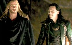 Thor and Loki. It's the grin that makes this shot priceless.