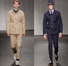 E. Tautz 2015 Spring Summer Mens Runway Looks - London Collections: Men British Fashion Council UK United Kingdom Edward Tautz - Denim Jeans Dark Wash Shorts Boxy Slouchy Loose Wide Leg Trousers Palazzo Pants Outerwear Oversized Stripes Button Down Shirt Hi Top Sandals Blazer Sportcoat Parka Trench Coat Blazer Shorts Mackintosh Vertical Stripes Knit Sweater Jumper