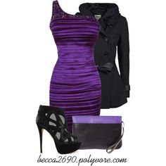 """""""Black & Purple Night Out"""" by becca2690 on Polyvore"""