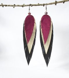 Leather feather earrings pink gold black fancy bridesmaid party wedding earrings If you want some beautiful earrings come to my shop: www.etsy.com/shop/myleatherjewelry