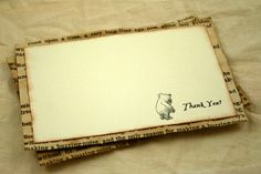 Thank You Notes Winnie the Pooh Vintage Book Page Set of 12 Baby shower, Baptism, Birthday Party