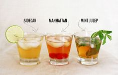 Classic cocktails: Sidecar, Manhattan, Mint Julep