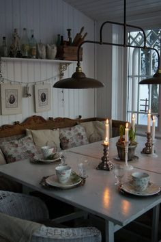 Dining Room. Whitewashed Cottage Chippy Shabby chic French country Rustic Swedish Decor Idea. ***Repinned from Jikke ***.