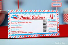 Invitations at a  Airplane Party #airplane #partyinvites