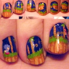 Sonic nails. BOOM! My little boy would think this is so cool.
