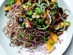 This particular plate, a cool starter or perfect spring lunch, marries ingredients that seemingly have nothing to do with one another, namely mango and eggplant. But when the eggplant is charred and mixed with the nutty soba noodles and the tangy dressing, the mango brings the dish together with its sweet bursts of fruitiness boosting the salty, sour qualities of the noodles.