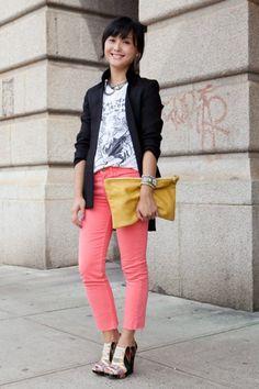 pink + mustard
