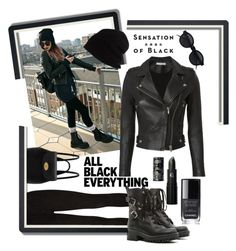 """Monochrome Black In The City"" by forgottenmelody on Polyvore featuring IRO, Paige Denim, RED Valentino, Mulberry, SCHA, Vision, Lipstick Queen, Chanel and allblackoutfit"