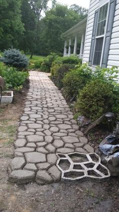 My Walkway Is Coming Along. I Am So Proud Of How This Is Turning Out.  Backyard WalkwayOutdoor WalkwayPaver WalkwayBackyard IdeasPatio ...