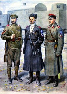 Russian white army soldiers: Kornilov Regt.
