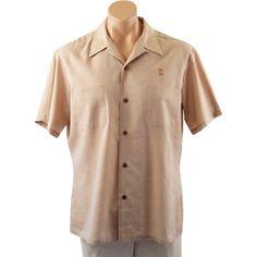 Vintage 1960s Mens Shirt Tan by Golden Era by Mr California Sz L C48