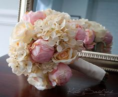 Shabby Chic Wedding Bouquet - Peony Rose and Hydrangea Ivory and Blush Wedding Bouquet via Etsy