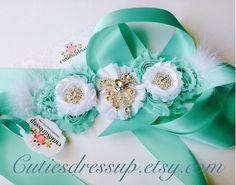 Maternity sash , pregnancy sash , aqua and white maternity sash  on Etsy, $64.99