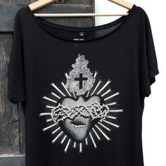 cuore sacro Tunica donna ex voto t-shirt donna di hardtimesdesign