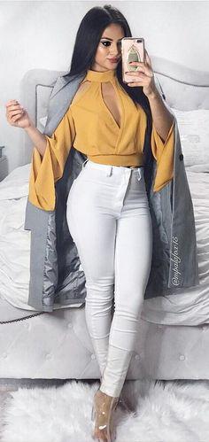 #winter #fashion /  Yellow Blouse + Grey Coat