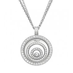 Chopard Pendant Happy Spirit Pendant rose gold, white gold and diamonds Diamond Pendant, Diamond Jewelry, Gold Pendant, Diamond Necklaces, Circle Pendant Necklace, Pink Gemstones, Valentines Jewelry, White Gold Jewelry, Chopard