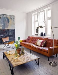 Tips That Help You Get The Best Leather Sofa Deal. Leather sofas and leather couch sets are available in a diversity of colors and styles. A leather couch is the ideal way to improve a space's design and th Tan Leather Sofas, Leather Furniture, Brown Leather, Orange Leather, Distressed Leather, Leather Lounge, Leather Art, Soft Leather, My Living Room