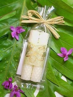 Plumeria Candles Hawaiian Wedding Favors White by doublebrush, $4.00