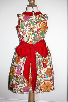 Ava's Fairytale Christmas Dress, back view, Liberty of London fabric, Oliver and S Fairy Tale dress
