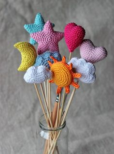 Star Heart Sun Moon Cloud Crochet Ornament Pattern Home image 1 Crochet Stars, Cute Crochet, Crochet Crafts, Crochet Baby, Crochet Projects, Crochet Roses, Crocheted Flowers, Crochet Ornament Patterns, Crochet Ornaments