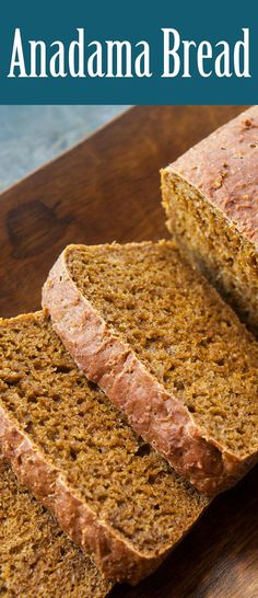 Anadama Bread Traditional New England Anandama bread, a dark yeast bread made with flour, cornmeal, and molasses! Cooking Bread, Bread Baking, Cooking Recipes, Yummy Recipes, Artisan Bread Recipes, Bread Machine Recipes, Anadama Bread Machine Recipe, Quick Bread, Kitchens