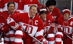 Brendan Shanahan, Nick Lidstrom, Steve Yzerman, Mickey Redmond and Kris Draper at the Second Alumni Showdown game, 12/31/13, Comerica Park, Detroit.
