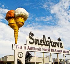 Snelgrove ice cream sign in Sugar House, Salt Lake City. Photo by Clint Gardner. Drove past this once and the ice cream was on the ground and there was a guy in the cone! Tom Robbins, Advertising Signs, Vintage Advertisements, Ice Cream Sign, Retro Signage, Before I Forget, Vintage Neon Signs, Roadside Attractions, Roadside Signs