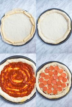 Pizza Pizza Night just got a whole lot better! This Homemade Pizza is topped with a flavourful sauce, two types of cheeses and slices of pepperoni. What makes this classic pepperoni pizza so special? The crust is stuffed with cheese! Types Of Pizza, Types Of Cheese, Cheese Crust Pizza, Pizza Pizza, Pizza Recipes, Gourmet Recipes, Dinner Recipes, Homemade Cheese, Crust Recipe