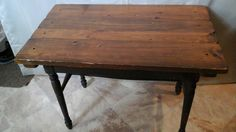 Check out this item in my Etsy shop https://www.etsy.com/listing/230063808/rustic-vintage-worn-wood-table-with-nail