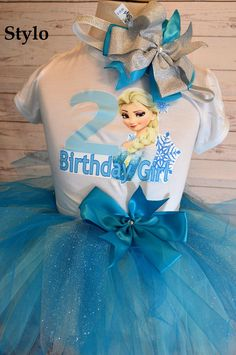Birthday Tutu Set order or follow us on Facebook ; www.facebook.com/... #birthday #bluetutu #frozen #elsa #styloboutique