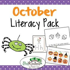 Hands-On October Literacy Center printables