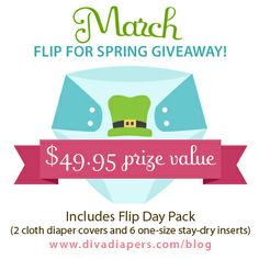 One lucky winner will receive a Flip Day Pack that comes with two cloth diaper covers and six one-size stay-dry inserts!