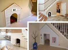 Dog Houses under stairs, what a great idea!