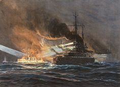 Destruction of the British Armoured Cruiser HMS Black Prince during the night of 31st May 1916 at the Battle of Jutland: picture by Willy Stoewer