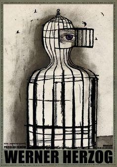 Polish Poster by Ryszard Kaja (b. 1962), Werner Herzog (German film director). #Eye #Cage