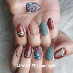 rug design❁ Perfect for autumn and winter along with mofumofu Moth ☾ 120 min . Nail Polish Art, New Nail Art, Nail Polish Designs, Nail Art Designs, Classy Nails, Stylish Nails, Gorgeous Nails, Pretty Nails, Luv Nails
