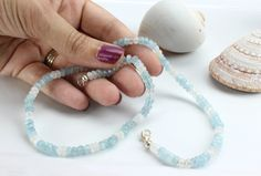 Gorgeous Aquamarine and Moonstone 18ins Found at www.kimberlyhahnstreasures.com