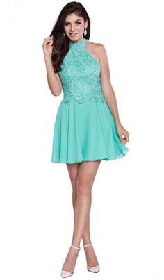 Be the loveliest of them all wearing Nox Anabel A halter neckline, lace overlay bodice with sequin accents, layered skirt and zipper closure features this dress. Be ready to mesmerize the night in this Nox Anabel masterpiece. Turquoise Homecoming Dresses, Pretty Homecoming Dresses, Turquoise Dress, Cute Short Dresses, Short Bridesmaid Dresses, Stylish Dresses, Unique Dresses, Blue Dresses, Ice Blue Dress